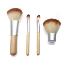 4 pcs makeup brush set by Nature Made Soap Co that consists of bamboo handles, to keep it Earth Friendly!  Nature Made Soap Co Etsy Shop has Spa & Relaxation items, Soaps, Candles, Manicure & Pedicure Tools, Brushes, Combs plus a whole lot more!