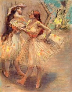 The Athenaeum - Dancers near a Set (Edgar Degas - )