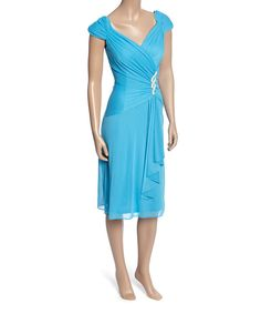 Look at this Turquoise Cap-Sleeve Wrap Dress - Women on #zulily today!