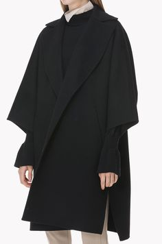 Wool cashmere cape type wide collar coat