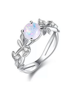Art Deco Fire Opal Ring Cubic Zirconia Side Bypass Stylish Trendy Promise Engagement Ring 925 Sterling Silver Wedding Ring Womens Girls 9