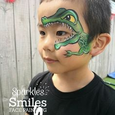 Eye design dragon / crocodile Spider Face Painting, Dinosaur Face Painting, Eye Face Painting, Face Painting For Boys, Face Art, Body Painting, Animal Face Paintings, Animal Faces, Face Painting Tutorials