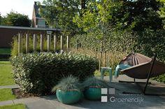 Palenwand en hangmat in een achtertuin in Reeuwijk