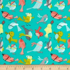 It's A Bird's Life Birdies Turquoise from @fabricdotcom  Designed by Heather Rosas for Camelot Fabrics, this fabric is perfect for quilting, apparel and home decor accents. Colors include shades of blue, green, yellow, red, peach, brown, orange, red, and black on a turquoise background.