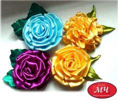 МК цветы на линейке из атласной ленты. DIY Ribbon flower