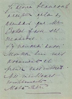A piece of correspondence signed by Mata-Hari