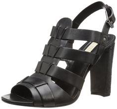 Lauren Ralph Lauren Women's Kalie Platform Dress Sandal, Black Burnished Vachetta, 5.5 B US. Pinnacle.