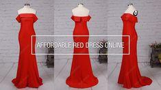 Affordable Sheath/Column Off-the-shoulder Long Red Prom Dress For Teenag...