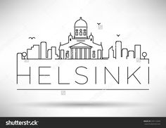 Linear Helsinki City Silhouette with Typographic Design