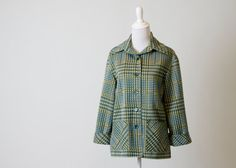 Cute Vintage 1970s Green, Yellow, & White Plaid Women's Coat- Great Condition on Etsy, $23.00