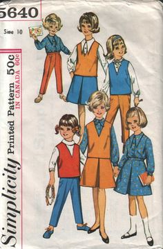 simplicity 5640, vintage 60s girls' blouse, skirt, top and pants pattern, size 10, bust 28 FREE SHIPPING to canada and usa by vintagevice on Etsy https://www.etsy.com/listing/112123245/simplicity-5640-vintage-60s-girls-blouse