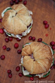 Today, I'm sharing one of my very favorite sandwich recipes, Cranberry Turkey Sandwich. Sliced turkey, piled high on a freshly baked croissant, layered with tender baby spinach and tart whole berry cranberry sauce. Leftovers Recipes, Turkey Recipes, Fall Recipes, Holiday Recipes, Entree Recipes, Sandwich Recipes, Holiday Crafts, Yummy Recipes, Chicken Recipes