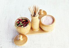 Wood Salt Pepper Set Wood Spices Set Salt by LittleWoodCottage