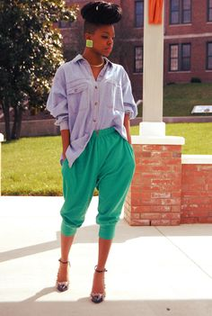 Jean Shirt, Green Harem Pants, Spiked Cap Toe Heels Top and Bottom thrifted, Shoes from Karmaloop Taylor, 19, NC instagram: @Sam Taylor Mcfly blog: http://theskinnyfashionista.blogspot.com