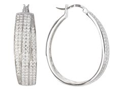 3a4d503ef Bella Luce (R) 3.53ctw Round Rhodium Over Sterling Silver Hoop Earrings  (2.41