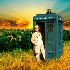 Doctor Who; The fifth Doctor, Peter Davison along with The Tardis.
