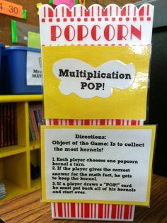 Multiplication Popcorn Game picture only Multiplication Games, Fourth Grade Math, Math Intervention, Teaching Math, Teaching Ideas, Teaching Strategies, Fun Math, Maths, Math Workshop