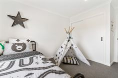 Playful black and white child bedroom