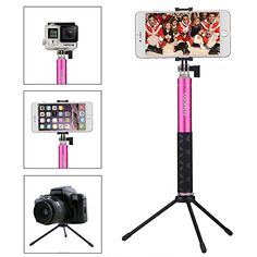 Selfie Stick, Foneso Extendable Monopod with Bluetooth Remote and Tripod Stand for iPhone 7 6S Plus 6S 6 Plus 6 5S Android Samsung Galaxy S6 S5 Note 4 Support Photo & Video (Rose Red) - http://allcamerasportal.com/selfie-stick-foneso-extendable-monopod-bluetooth-remote-tripod-stand-iphone-7-6s-plus-6s-6-plus-6-5s-android-samsung-galaxy-s6-s5-note-4-support-photo-video-rose-red/