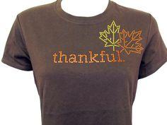 Thankful Rhinestone Shirt - Thanksgiving Rhinestone Tee or Long Sleeve Tee., via Etsy.