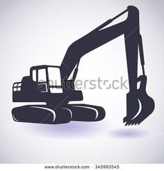 Excavator isolated. Vector icon. Sketch in black lines