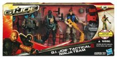 G.I. Joe Retaliation Tactical Ninja Team Set by G.I. Joe. $34.95. Includes weapons. Set includes 3 figures and accessories. Working rappelling line. Removable vest. Set includes Agent Mouse, Snake Eyes: G.I. Joe Ninja and SGT; Airborne figures. From the Manufacturer The G.I. Joe team launches a surprise attack on Cobra. Ninja commando Snake Eyes uses a rappelling line to breach the enemy's defenses as SGT. Airborne descends from the sky. On the ground, Agent Mou...