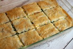 This Spinach and Feta Pie it's exactly one of such dishes you can serve for any meal of the day you like. It's super easy to make and so tasty, you'll want to keep this recipe on hand for repeated use. Greek Recipes, Pie Recipes, Veggie Recipes, Vegetarian Recipes, Dinner Recipes, Cooking Recipes, Vegetarian Sandwiches, Spinach Recipes, Holiday Recipes