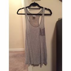 Victoria's Secret PINK Lace Back Gray Tank Top Only worn once, in excellent condition! Victoria's Secret Tops Tank Tops