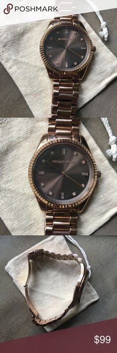 Authentic Michael Kors rosegold watch Great condition. Needs a new battery. Stainless steel with chocolate face. Loved this watch but I got an Apple Watch so no need for it anymore. Small scratch but barely noticeable. Michael Kors Accessories Watches