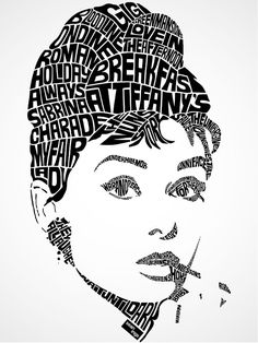 Illustration fashion movie Typography vintage classic design audrey hepburn actress marilyn monroe tiffany graphic design clothing Breakfast at Tiffany's james dean audrey seanings Audrey Hepburn Kunst, Typography Portrait, Typography Drawing, Inkscape Tutorials, George Peppard, Poesia Visual, Typographie Logo, Design Typography, Lettering