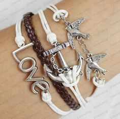 leather bracelet  silver love braceket  anchor  by lifesunshine, $7.99