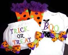 Halloween Outfit Boo Trick or Treat Bodysuit by whimsytots on Etsy, $68.50