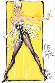 bob mackie | Bob Mackie costume sketch for Mitzi Gaynor. Love her! So gorgeous and talented.