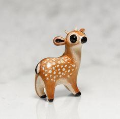Deer Figurine OOAK Handmade Polymer Clay by RamalamaCreatures, $25.00