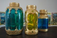 Moroccan Glass Jar Tutorials- from empty pasta sauce jars. For real!