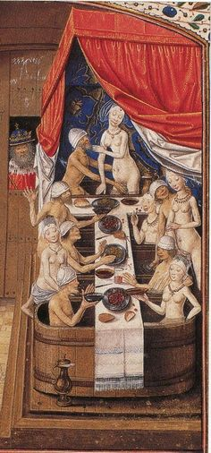Hygiene in the Middle Ages. public German bath etchings from the 15th c. - the town bathhouse, with a long row of bathing couples eating a meal naked in bathtubs.