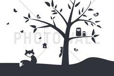 Animal Tree- Black - Fototapeten & Tapeten - Photowall