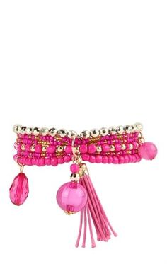 Deb Shops Beaded Stretch Bracelet with Tassel