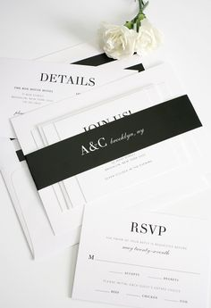 Glamorous Black and White Wedding Invitations from @shinewedding