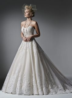 Strapless Princess/Ball Gown Wedding Dress  with Natural Waist in Lace. Bridal Gown Style Number:33283847
