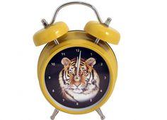 SVEGLIA TIGRE PARLANTE GIALLA GRANDE. Sveglia di colore giallo con all'interno raffigurata una tigre con suono della sveglia con il verso della tigre