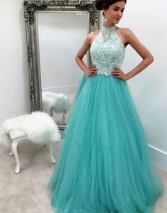 Prom Dresses ,prom gown, blue tulle lace long prom dress for teens, blue evening dress,141