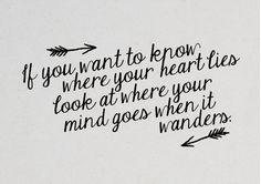 If you want to know where your heart lies look at where your mind goes when it wanders