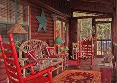 Love rustic outdoor furniture w/red.  Could see this set on our deck.  Ellijay, GA United States - Bearly There | SLIDING ROCK CABINS