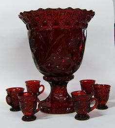 Cambridge Red Carmen Wild Rose Punch Bowl - May 2008 Vintage Dishes, Vintage Glassware, Red Bowl, Punch Bowl Set, Cranberry Glass, Fenton Glass, Carnival Glass, Glass Collection, Kitchen Gadgets