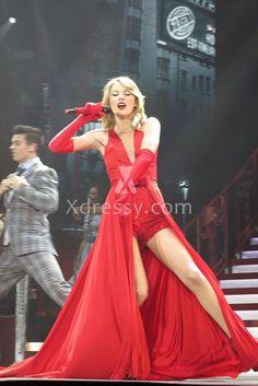 taylor swift stunning red sleeveless v neck prom dress