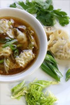 wonton soup.. made with frozen wontons  We substituted potstickers and used the chili oil rather than sesame oil. Very easy!