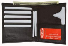Black Genuine Leather Men/'s Bifold  12 Card Hipster Wallet ID Badge