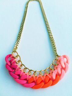 Pink Rainbow Caliente Braided Chunky Chain Collar by ShhBySadie, $38.00