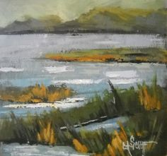 """Contemporary Artists of Florida: Marsh Painting, Small Oil Painting, """"North Florida Marsh"""" by Carol Schiff, 6x6x1.5"""""""